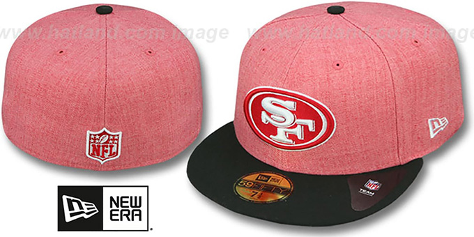 49ers '2T-HEATHER ACTION - 2' Red-Black Fitted Hat by New Era : pictured without stickers that these products are shipped with