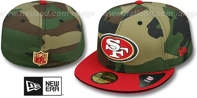 49ers '2T SPLIT NFL TEAM-BASIC' Army-Red Fitted Hat by New Era : pictured without stickers that these products are shipped with