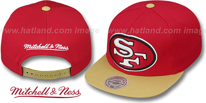 49ers '2T XL-LOGO SNAPBACK 2' Red-Gold Adjustable Hat by Mitchell and Ness : pictured without stickers that these products are shipped with