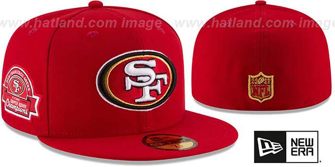 49ers 5X 'TITLES SIDE-PATCH' Red Fitted Hat by New Era : pictured without stickers that these products are shipped with