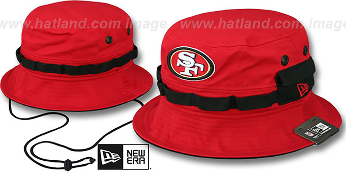 49ers 'ADVENTURE' Red Bucket Hat by New Era : pictured without stickers that these products are shipped with