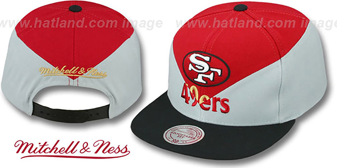 49ers 'AMPLIFY DIAMOND SNAPBACK' Red-Grey Hat by Mitchell and Ness : pictured without stickers that these products are shipped with