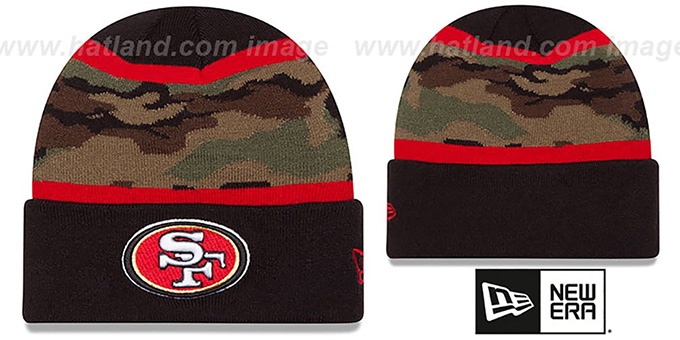 49ers 'ARMY CAMO FILLZ' Knit Beanie Hat by New Era : pictured without stickers that these products are shipped with