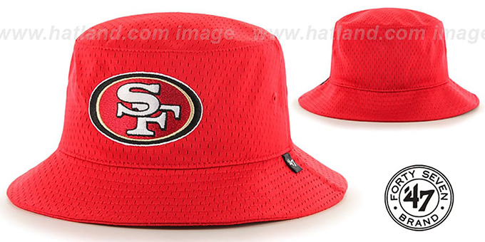 49ers 'BACKBOARD JERSEY BUCKET' Red Hat by Twins 47 Brand : pictured without stickers that these products are shipped with
