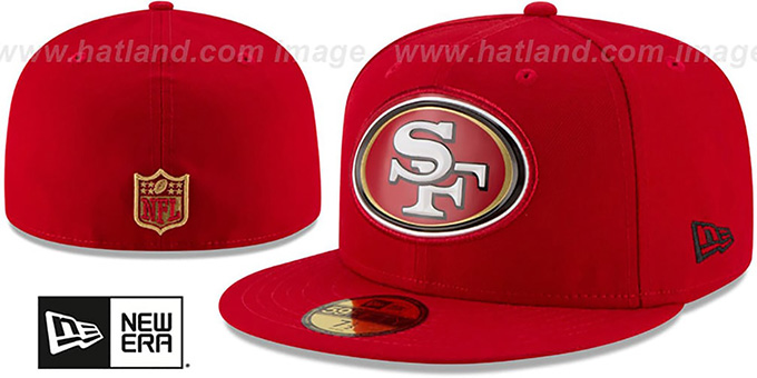 49ers 'BEVEL' Red Fitted Hat by New Era : pictured without stickers that these products are shipped with