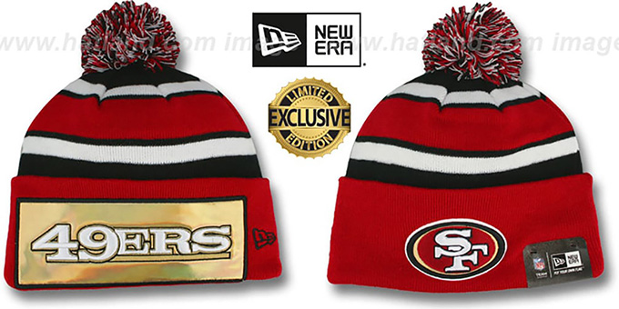 49ers 'BIG-SCREEN' Knit Beanie Hat by New Era : pictured without stickers that these products are shipped with