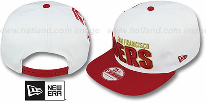49ers 'BIGSIDE A-FRAME SNAPBACK' White-Red Hat by New Era : pictured without stickers that these products are shipped with