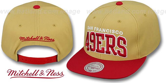 49ers 'BLOCK-ARCH SNAPBACK' Gold-Red Hat by Mitchell & Ness : pictured without stickers that these products are shipped with