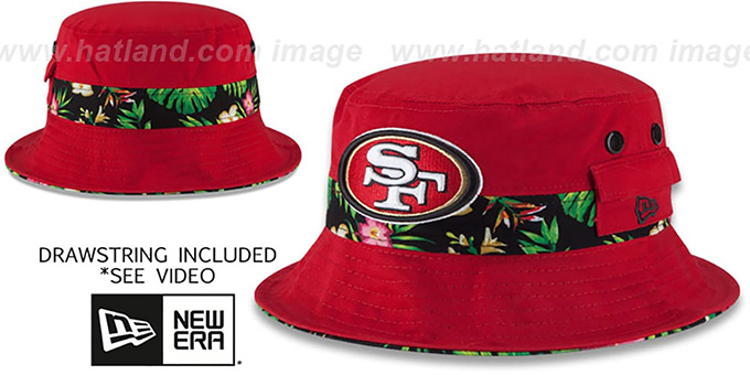 49ers 'BLOOM SUB-BANDED' Red Bucket Hat by New Era : pictured without stickers that these products are shipped with