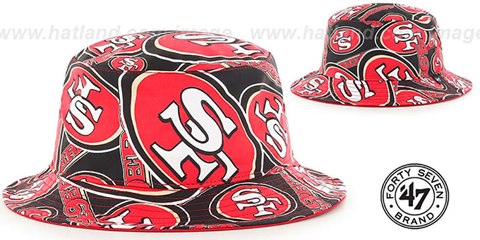 49ers 'BRAVADO BUCKET' Hat by Twins 47 Brand : pictured without stickers that these products are shipped with