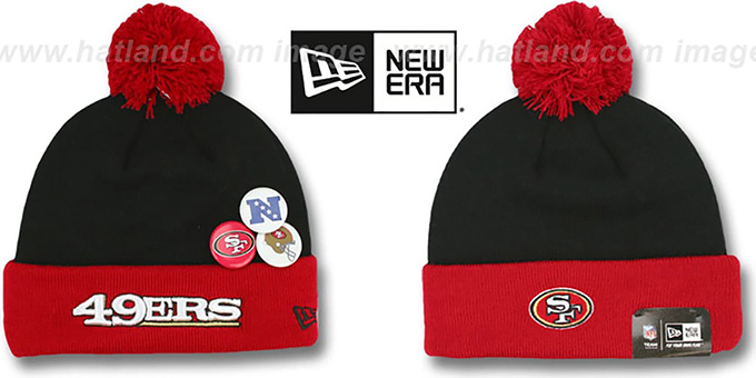 49ers 'BUTTON-UP' Knit Beanie Hat by New Era : pictured without stickers that these products are shipped with