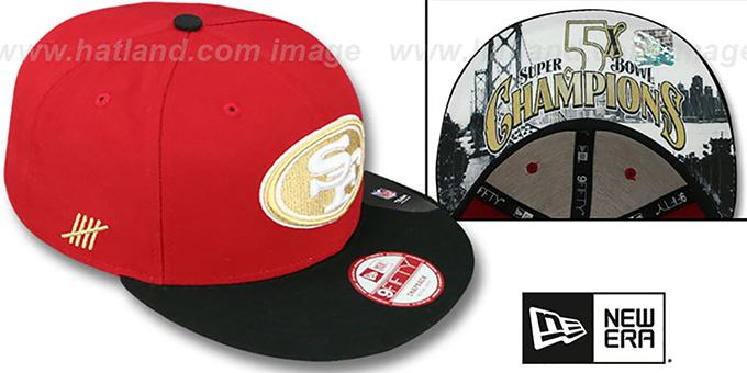 ... 49ers  CHAMPS-HASH SNAPBACK  Red-Black Hat by New Era ... 66570ea6b1d