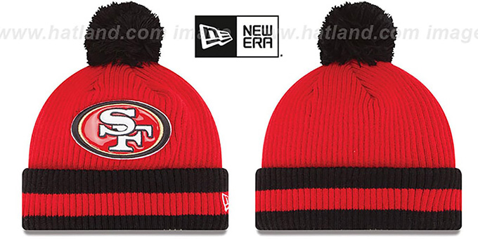 49ers 'CHILLER FILLER BEANIE' Red-Black by New Era : pictured without stickers that these products are shipped with