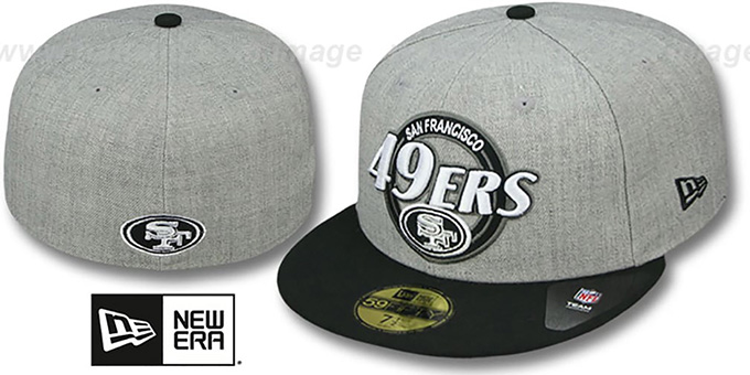 49ers 'CIRCLE-CLOSER' Grey-Black Fitted Hat by New Era : pictured without stickers that these products are shipped with