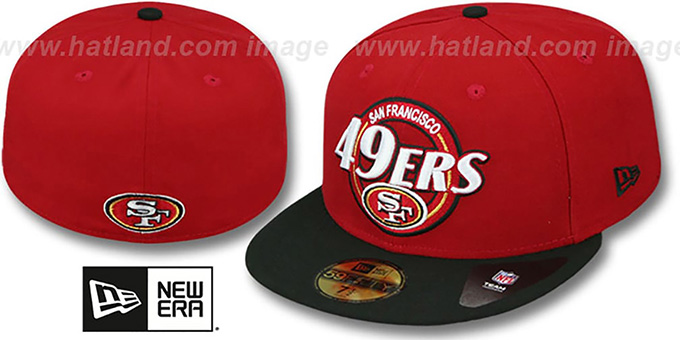 49ers 'CIRCLE-CLOSER' Red-Black Fitted Hat by New Era : pictured without stickers that these products are shipped with