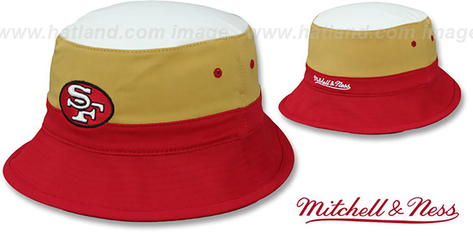 49ers 'COLOR-BLOCK BUCKET' White-Gold-Red Hat by Mitchell and Ness : pictured without stickers that these products are shipped with