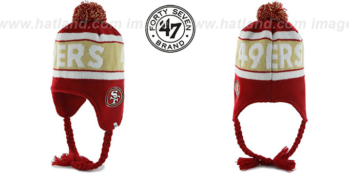 49ers 'CRANBROOK' Knit Beanie Hat by Twins 47 Brand : pictured without stickers that these products are shipped with