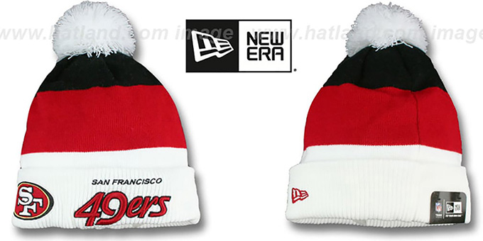 49ers 'CUFF-SCRIPTER' White-Red-Black Knit Beanie Hat by New Era : pictured without stickers that these products are shipped with