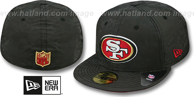 49ers 'DIGIFLECT' Black Fitted Hat by New Era : pictured without stickers that these products are shipped with