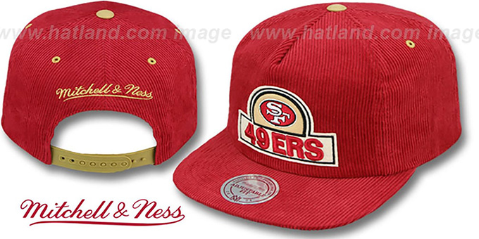 49ers 'FELT-PATCH CORD SNAPBACK' Red Hat by Mitchell and Ness : pictured without stickers that these products are shipped with