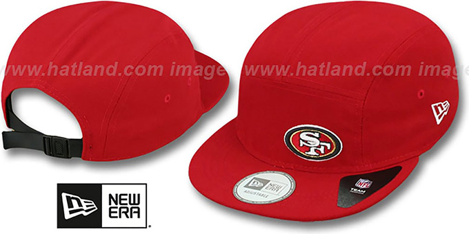 49ers 'FLAWLESS CAMPER STRAPBACK' Red Hat by New Era : pictured without stickers that these products are shipped with