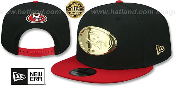 51570d291bfe0 San Francisco 49ers GOLD METAL-BADGE SNAPBACK Black-Red Hat