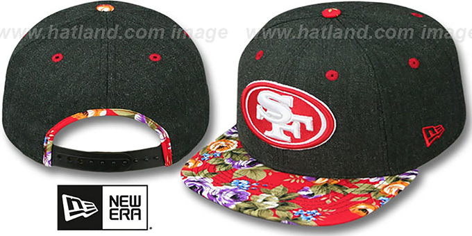 49ers 'HEATHER BLOOM SNAPBACK' Charcoal-Red Hat by New Era : pictured without stickers that these products are shipped with