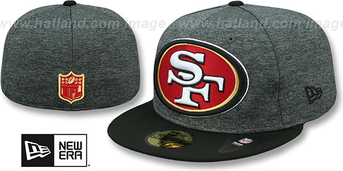49ers 'HEATHER-HUGE' Grey-Black Fitted Hat by New Era : pictured without stickers that these products are shipped with