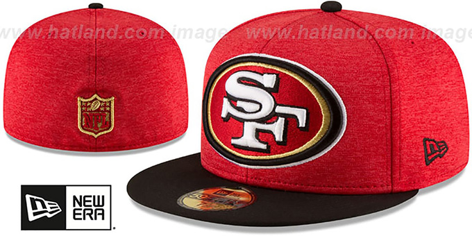 7fe1bd31 San Francisco 49ers HEATHER-HUGE Red-Black Fitted Hat