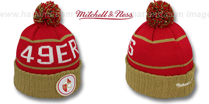 49ers 'HIGH-5 CIRCLE BEANIE' Red-Gold by Mitchell and Ness : pictured without stickers that these products are shipped with