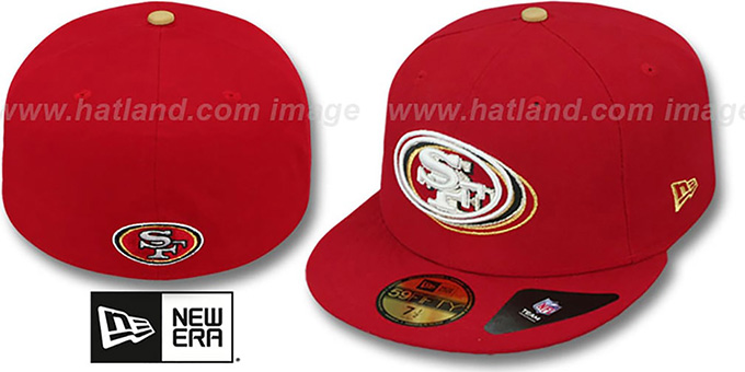 49ers 'ILLUSION' Red Fitted Hat by New Era : pictured without stickers that these products are shipped with