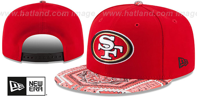 49ers 'KALEIDOVIZE SNAPBACK' Red Hat by New Era : pictured without stickers that these products are shipped with