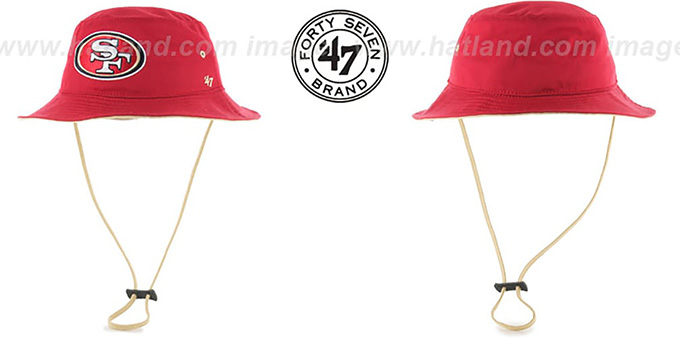 49ers 'KIRBY BUCKET' Red Hat by Twins 47 Brand : pictured without stickers that these products are shipped with
