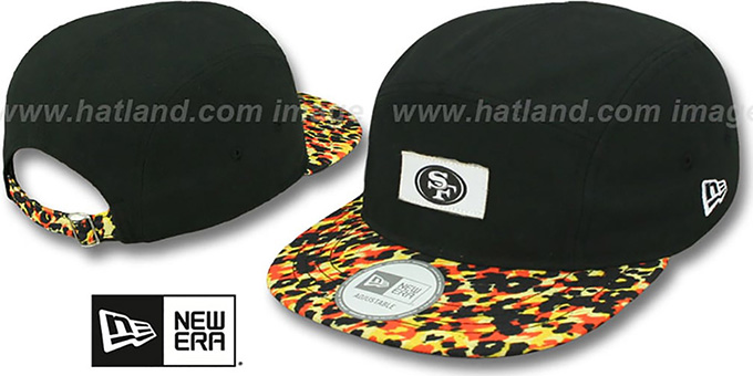 49ers 'LEOPARD CAMPER STRAPBACK' Black Hat by New Era : pictured without stickers that these products are shipped with