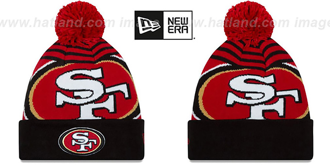 49ers 'LOGO WHIZ' Red-Black Knit Beanie Hat by New Era : pictured without stickers that these products are shipped with