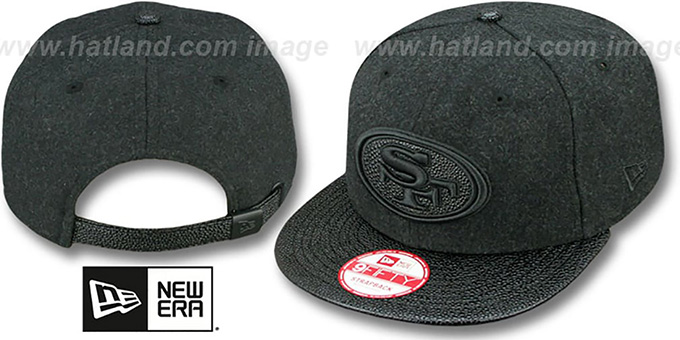 49ers 'MELTON STINGER STRAPBACK' Hat by New Era : pictured without stickers that these products are shipped with