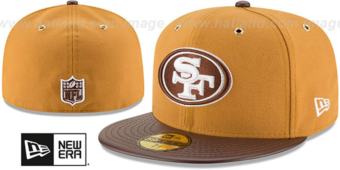 49ers 'METAL HOOK' Wheat-Brown Fitted Hat by New Era : pictured without stickers that these products are shipped with