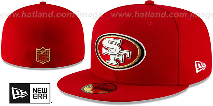 7f54afbf01cbed San Francisco 49ers METAL-N-THREAD Red Fitted Hat by New Era