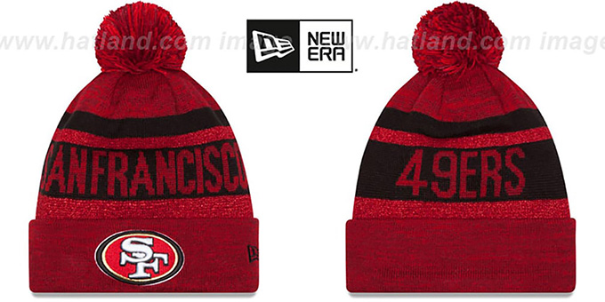 49ers 'METALLIC STRIPE' Red-Black Knit Beanie Hat by New Era : pictured without stickers that these products are shipped with