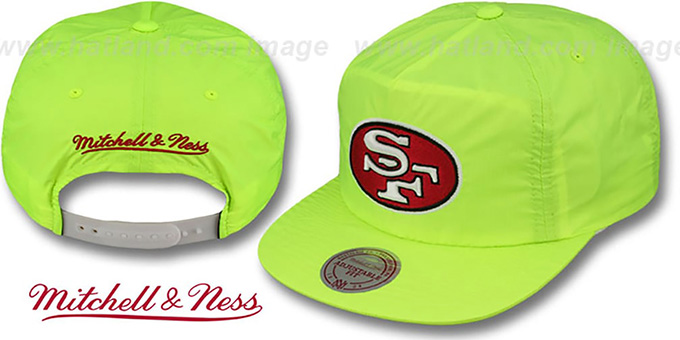 49ers 'NEON CAMPER SNAPBACK' Lime Hat by Mitchell & Ness : pictured without stickers that these products are shipped with