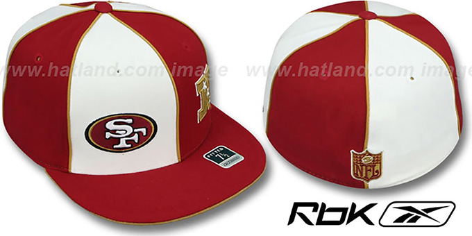 49ers 'NFC DOUBLE LOGO' White-Burgundy Fitted Hat by Reebok : pictured without stickers that these products are shipped with