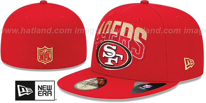 49ers 'NFL 2013 DRAFT' Red 59FIFTY Fitted Hat by New Era : pictured without stickers that these products are shipped with