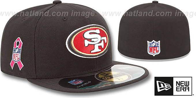 49ers 'NFL BCA' Black Fitted Hat by New Era : pictured without stickers that these products are shipped with