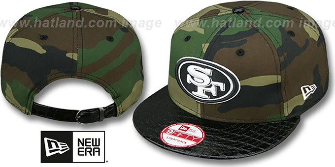 49ers 'NFL CAMO-CROC STRAPBACK' Adjustable Hat by New Era : pictured without stickers that these products are shipped with