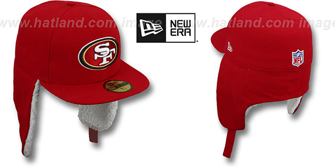 49ers 'NFL-DOGEAR' Red Fitted Hat by New Era : pictured without stickers that these products are shipped with