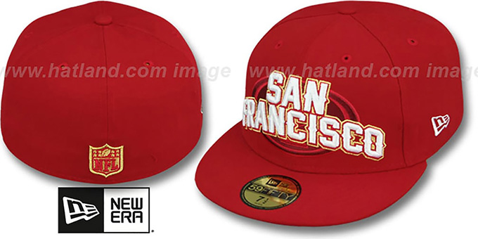 49ers 'NFL ONFIELD DRAFT' Red Fitted Hat by New Era : pictured without stickers that these products are shipped with