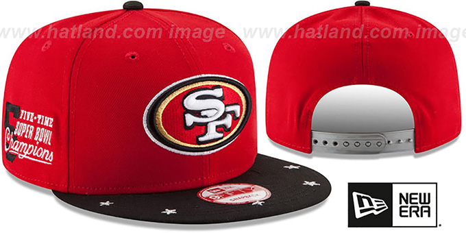 49ers 'NFL STAR-TRIM SNAPBACK' Red-Black Hat by New Era : pictured without stickers that these products are shipped with