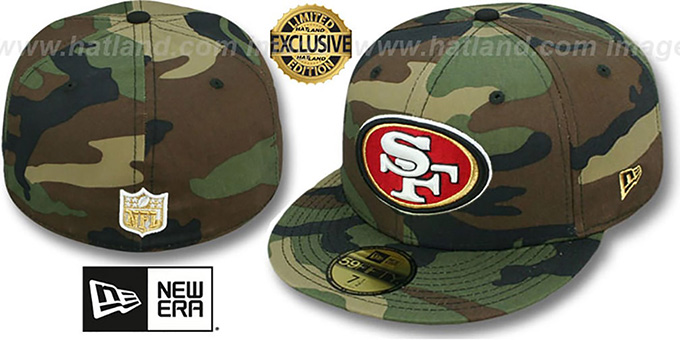 49ers 'NFL TEAM-BASIC' Army Camo Fitted Hat by New Era : pictured without stickers that these products are shipped with