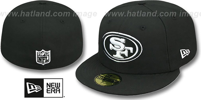 huge discount 23c77 05bf9 49ers  NFL TEAM-BASIC  Black-White Fitted Hat by New Era