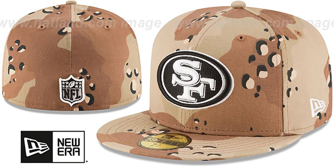 49ers 'NFL TEAM-BASIC' Desert Storm Camo Fitted Hat by New Era : pictured without stickers that these products are shipped with